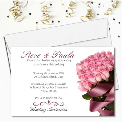 10 Personalised Pink Rose Wedding Invitations Day/Evening N36